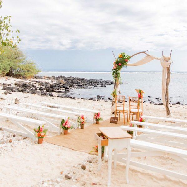 mariage plage sable mer banc bois blanc blog déco