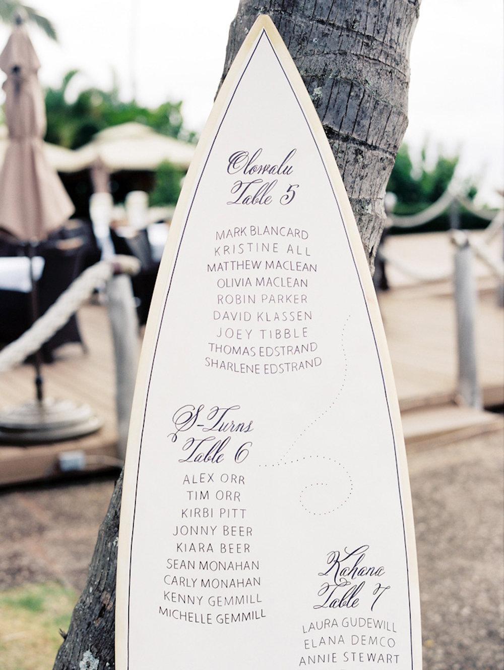 blog déco plan de table original planche de surf blanche idée mariage