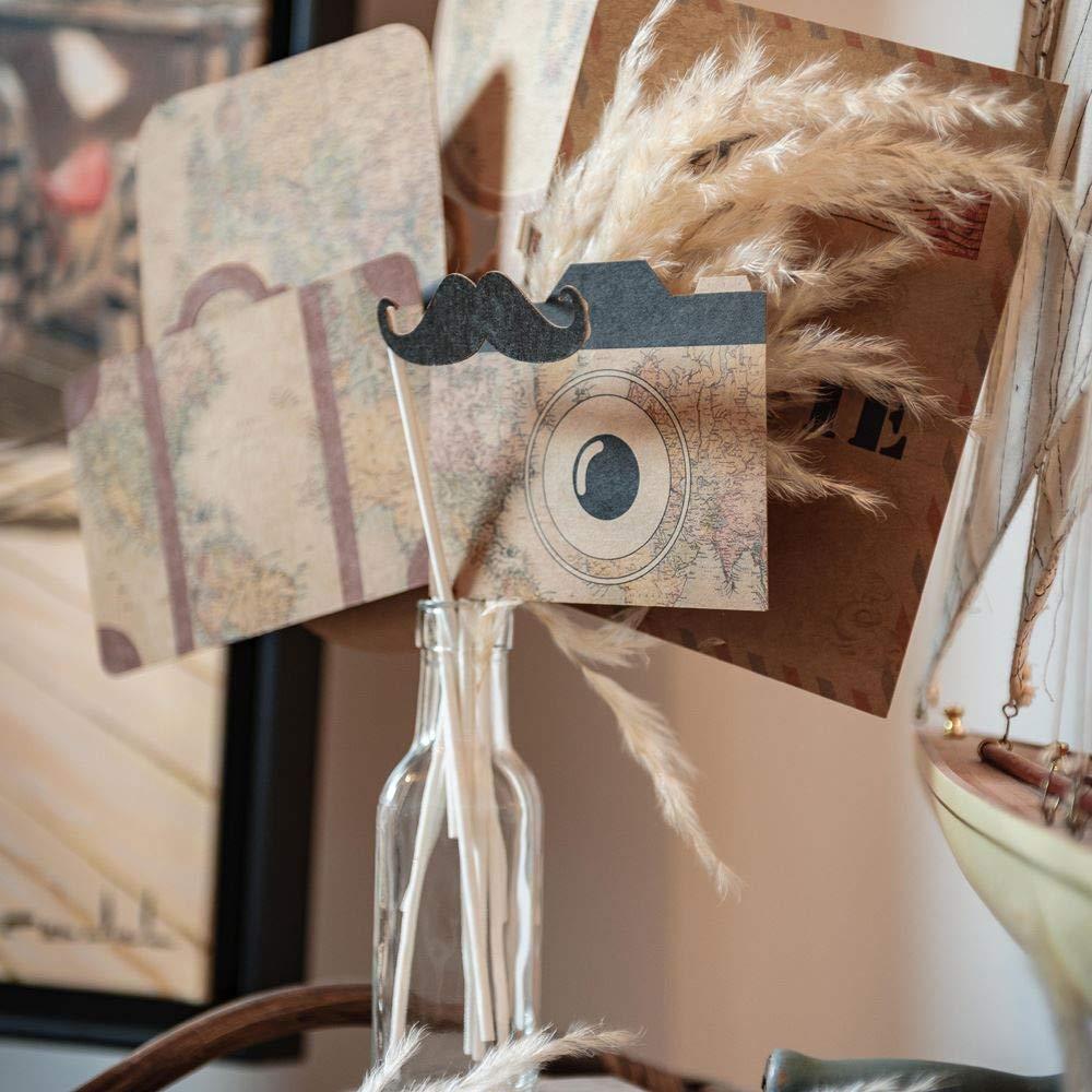 kit photobooth déco mariage thème voyage tour du monde appareil photo moustache valise - blog déco - clematc