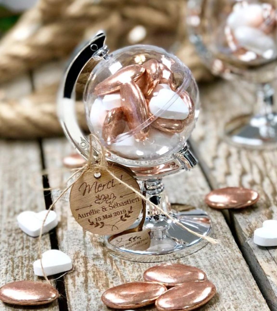 contenant à dragées globe trotteur terrestre déco mariage thème voyage décoration cadeau invités