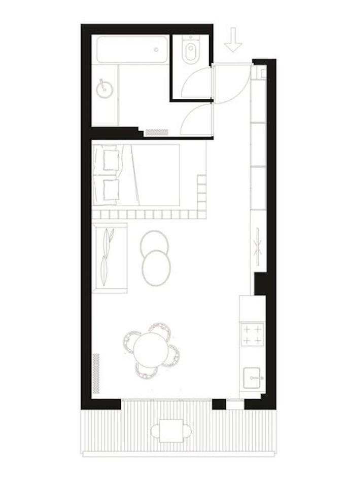 plan maison schéma studio étudiant 25m2 clemaroundthecorner