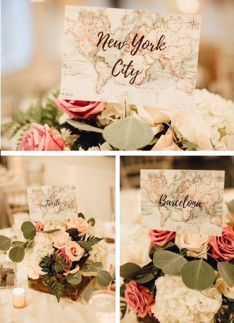 10 idées déco pour un mariage thème voyage centre de table nom du pays - blog déco - clemaroundthecorner