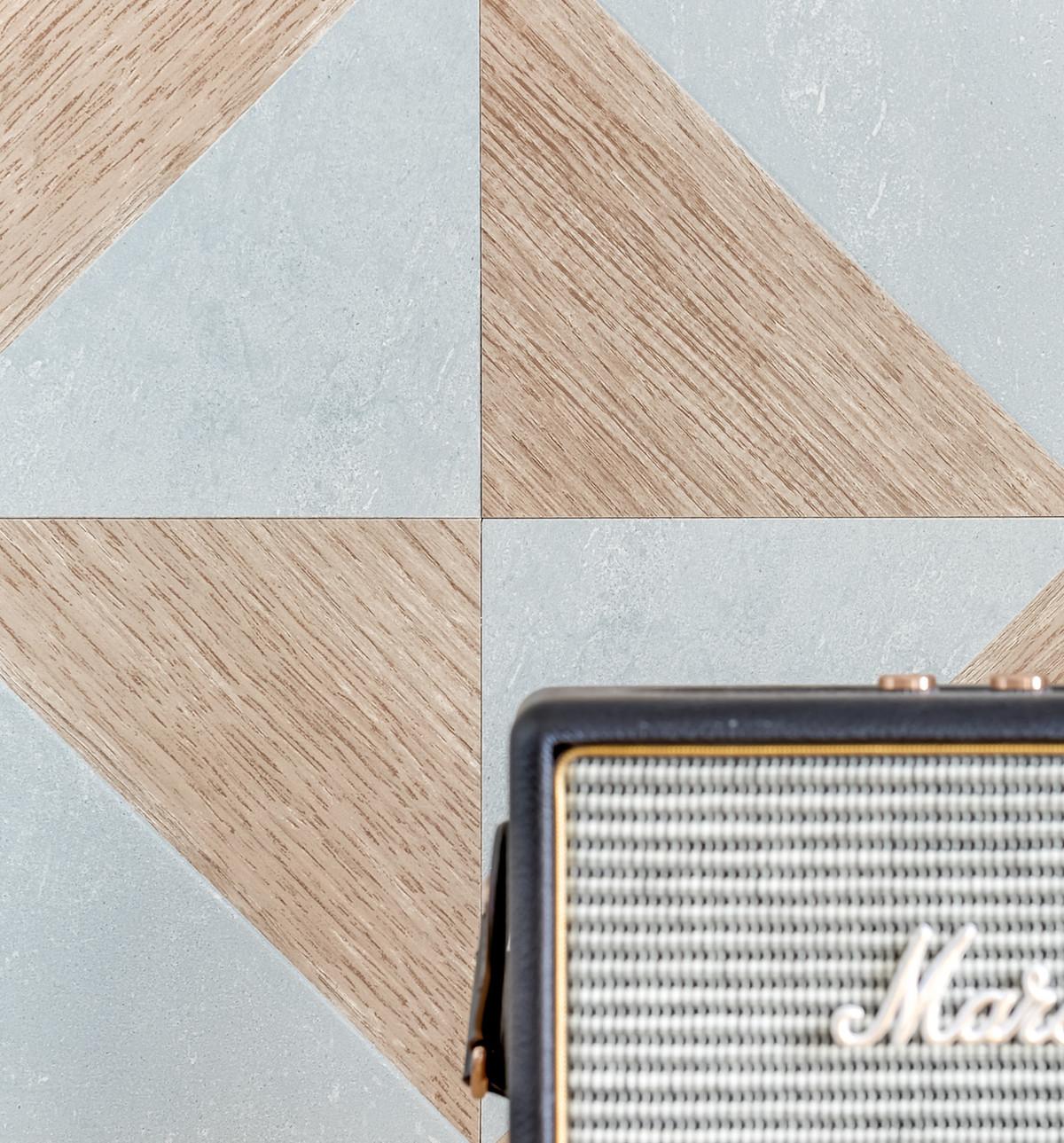 studio 25m2 mur géométrique bois bleu scandi blog déco
