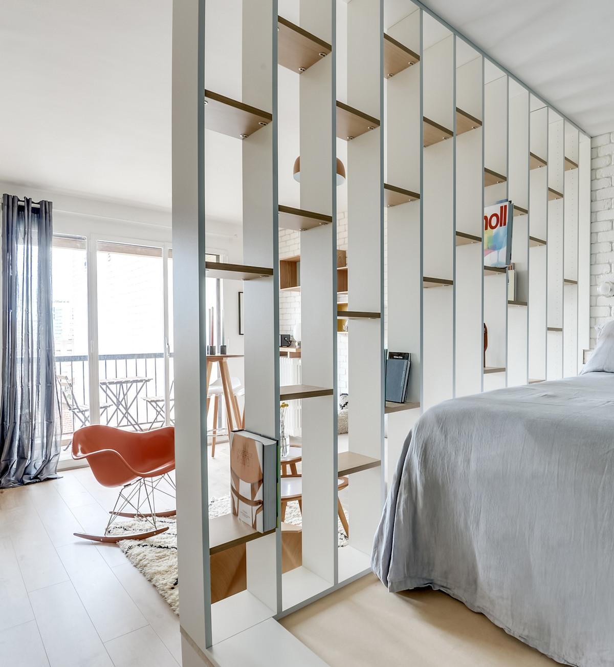blog déco chambre ouverte cloison étagère lit estrade meuble ikéa hack