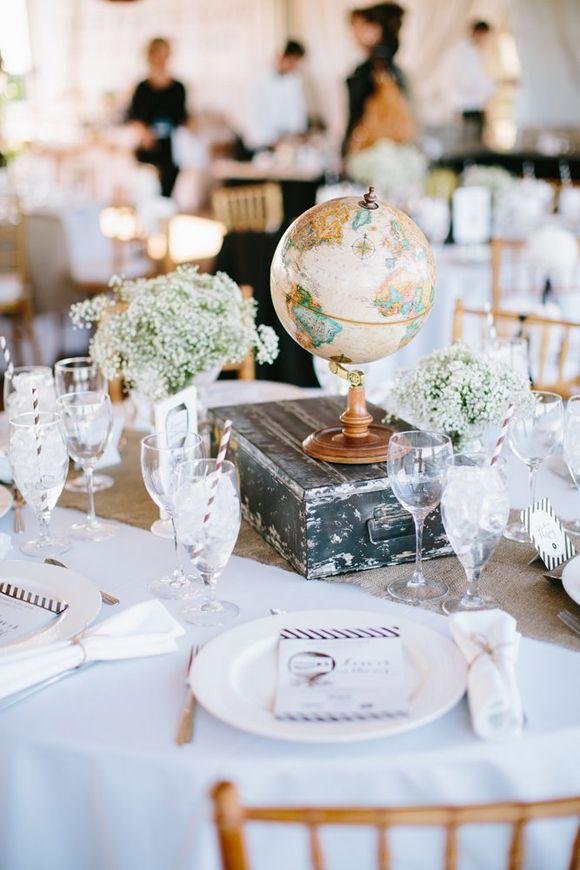 10 idées de déco pourun mariage thème voyage globe trotteur centre de table déco décoration