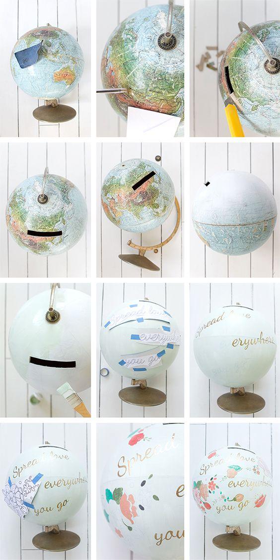 DIY globe terrestre urne mariage thème voyage déco décoration