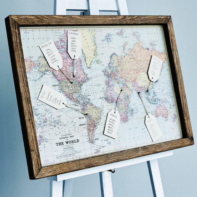 idée plan table mariage mappe monde thème voyages carte monde - blog déco - clemaroundthecorner