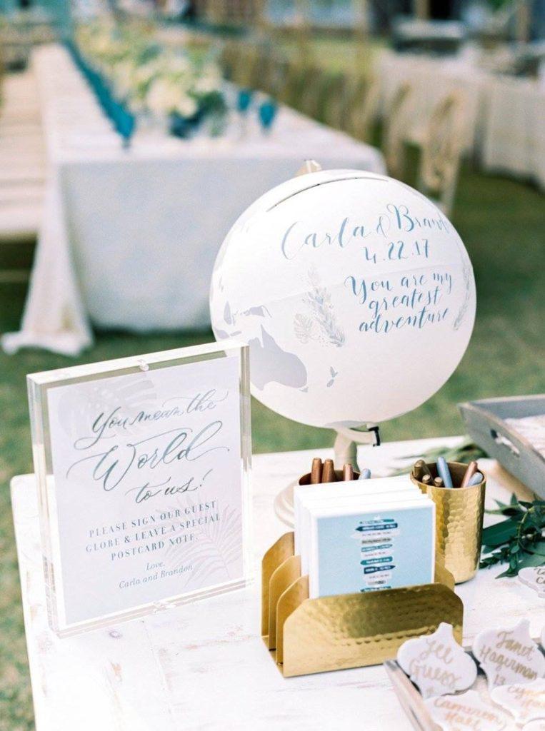 globe trotteur blanc urne mariage thème mariage déco décoration extérieure
