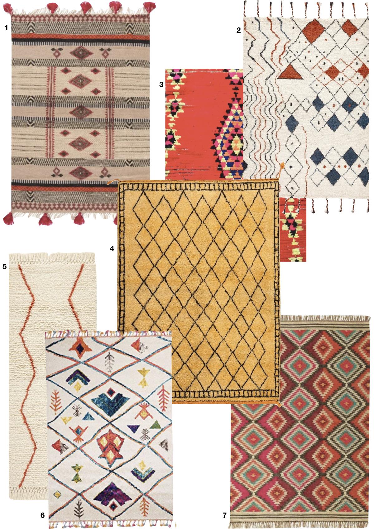 tapis coloré ethnique rouge jaune laine blog déco