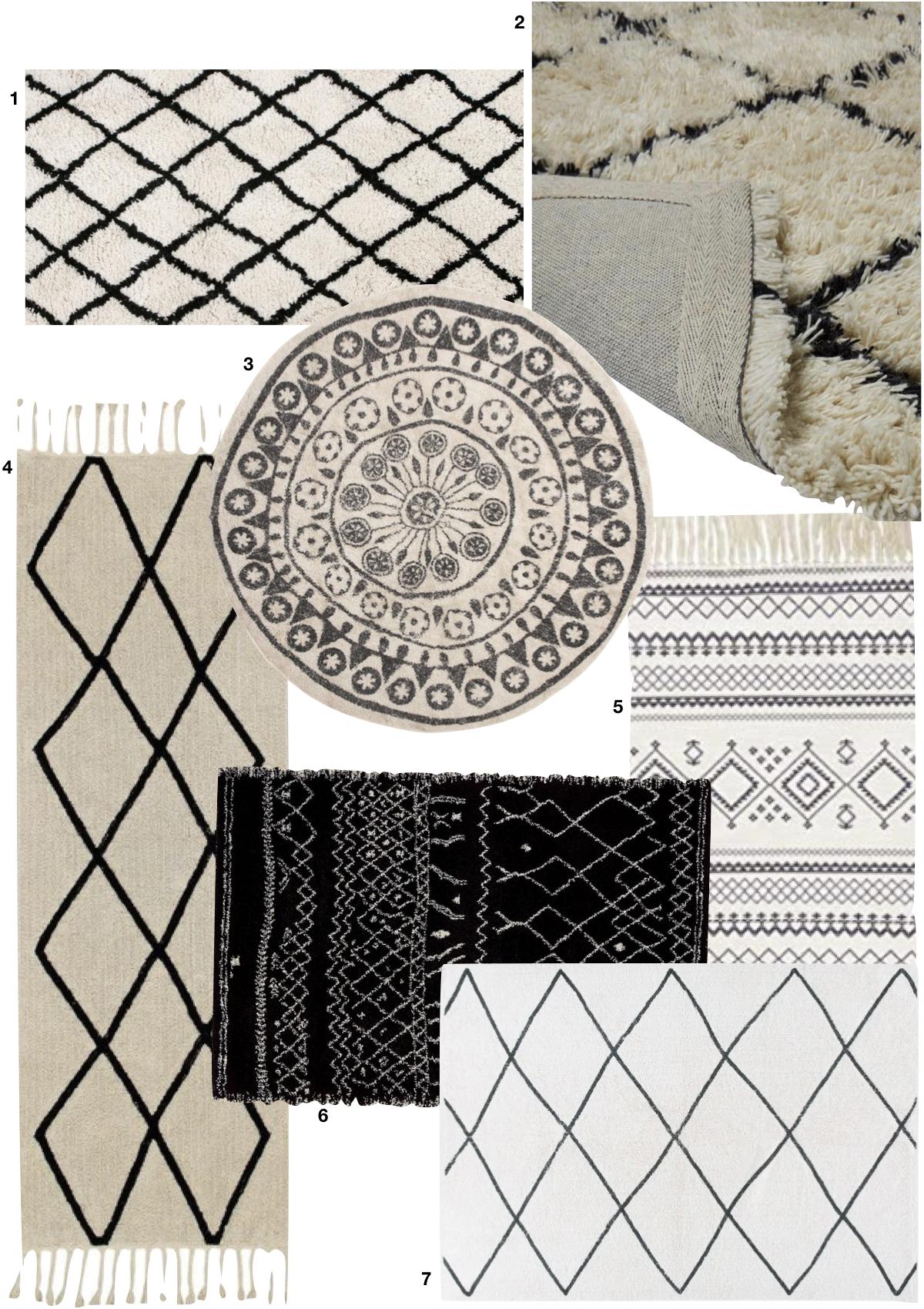 tapisserie noir et blanche bohème salon chambre déco indoor