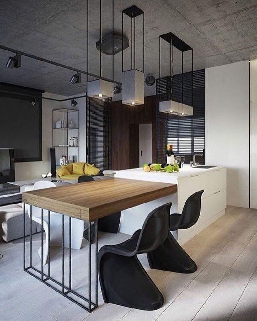 cuisine ouverte style industriel chaise ronde noire table bois déco