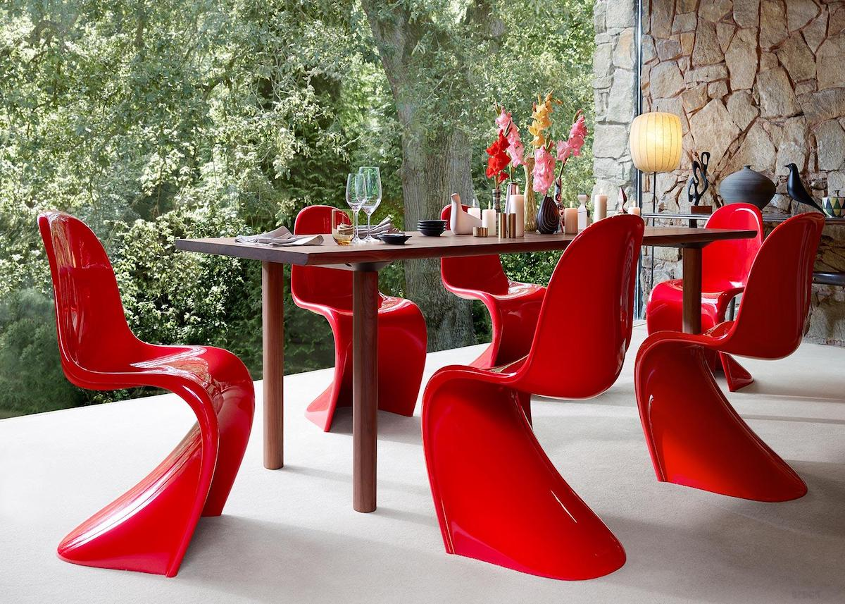 chaise panton icon design danois plastique rouge salon contemporain clemaroundthecorner