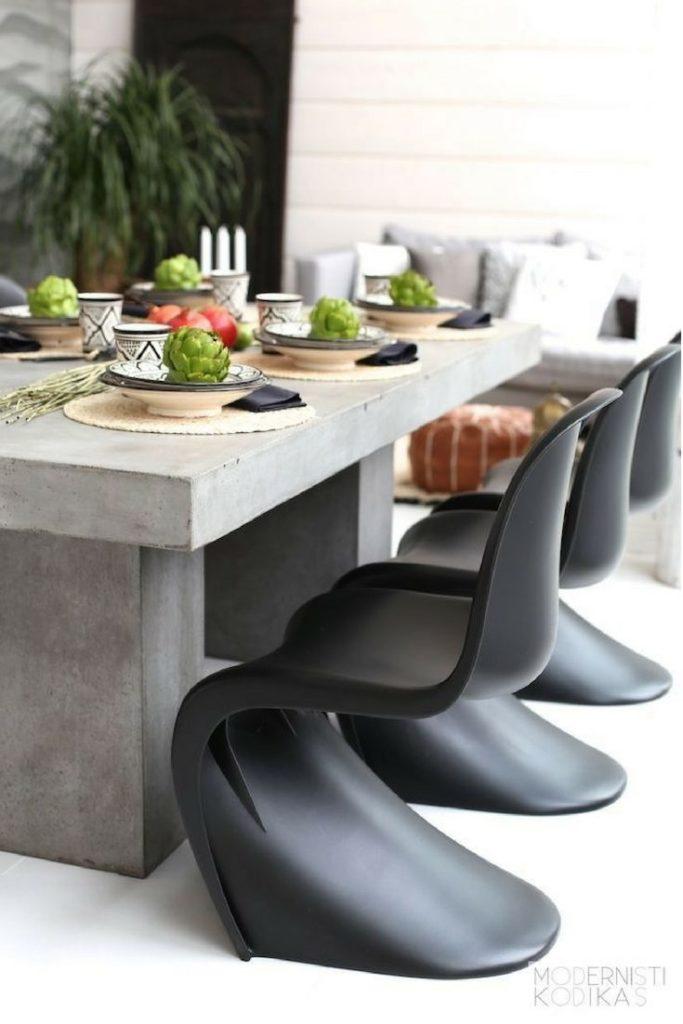 blog déco assise ronde noir plastique table béton gris terrasse extérieur