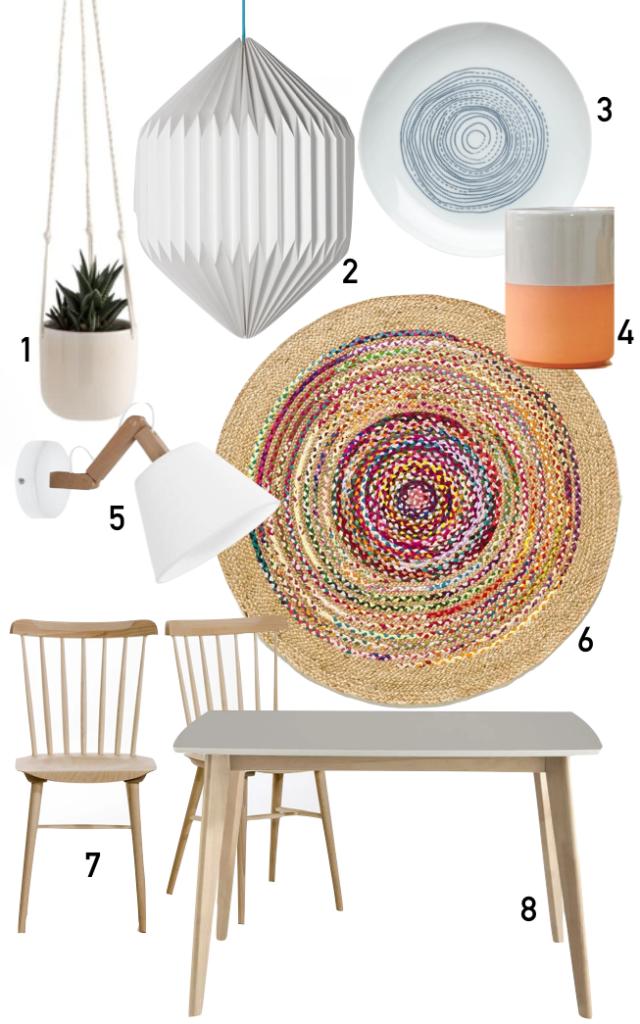 shopping liste studio 18m2 table chaise bois tapis rotin coloré applique murale blanc pot de fleurluminaire papier assiette verre terre cuite - blog déco - clemaroundthcorner