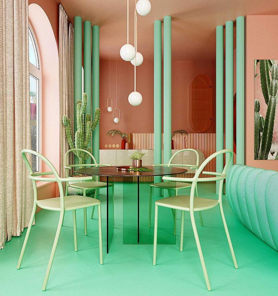 déco verte et rose design chaise table transparente salon ouvert sur cuisine canapé turquoise colonnes couleurs - blog déco - clem around the corner
