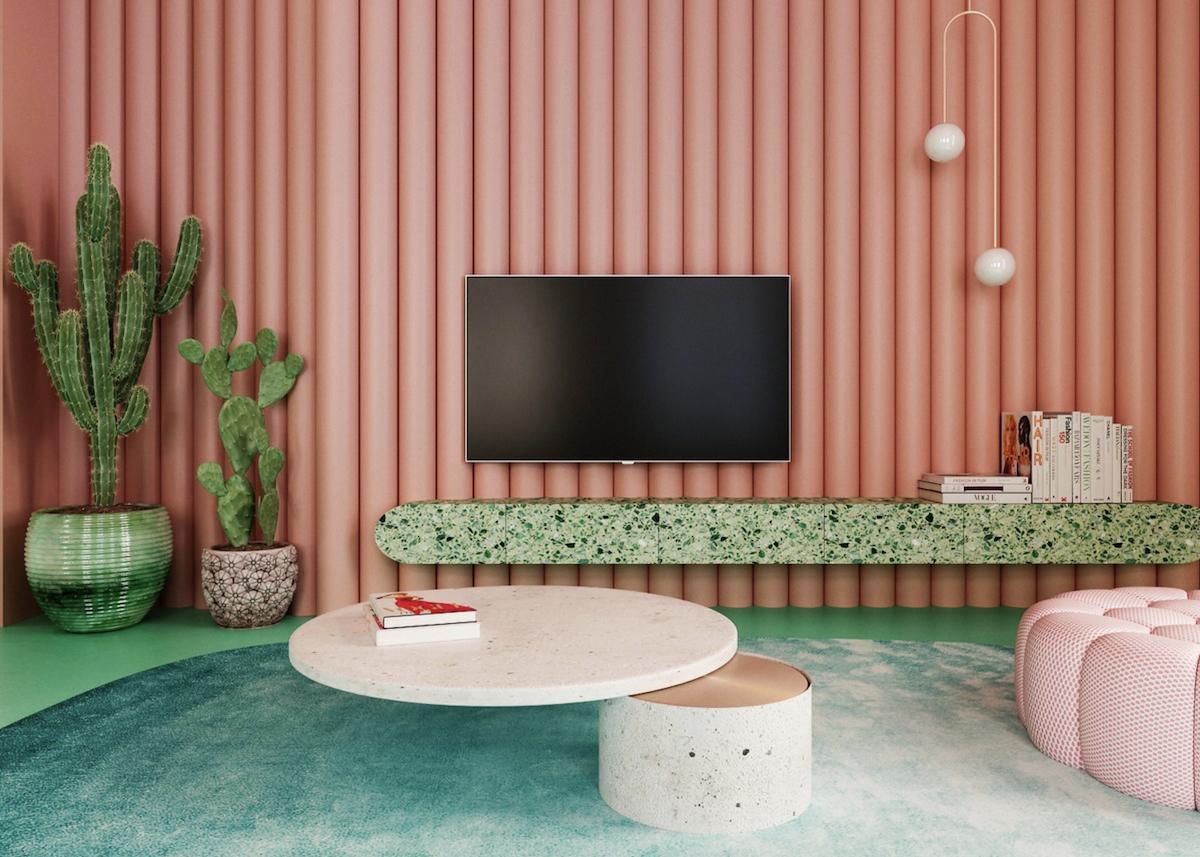 salon original coloré cactus table basse salon design tapis moumoute turquoise cactus plante verte