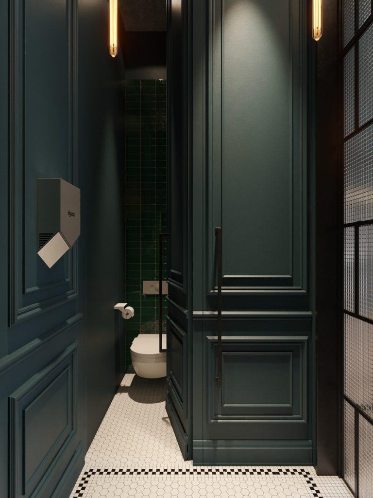 blog déco vert foncé salle de bain bois carrelage