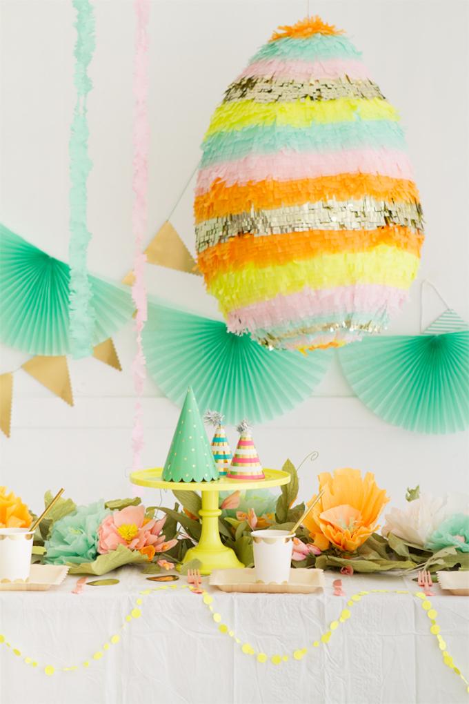 diy piñata facile à faire printemps décoration de fête cérémonie papier couleurs bucolique - blog déco - clem around the corner