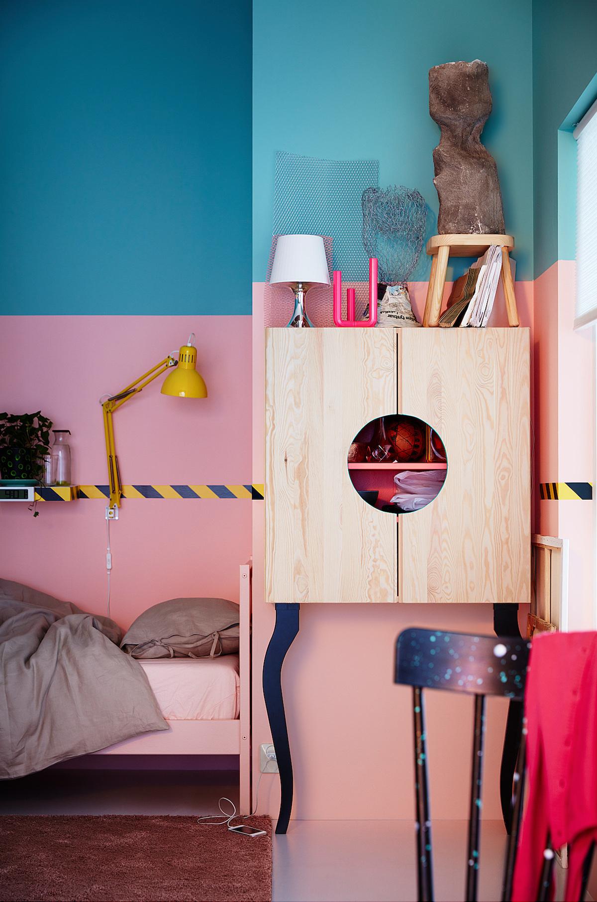 idée diy meuble bois pin fixé mur rose chambre blog déco clemaroundthecorner
