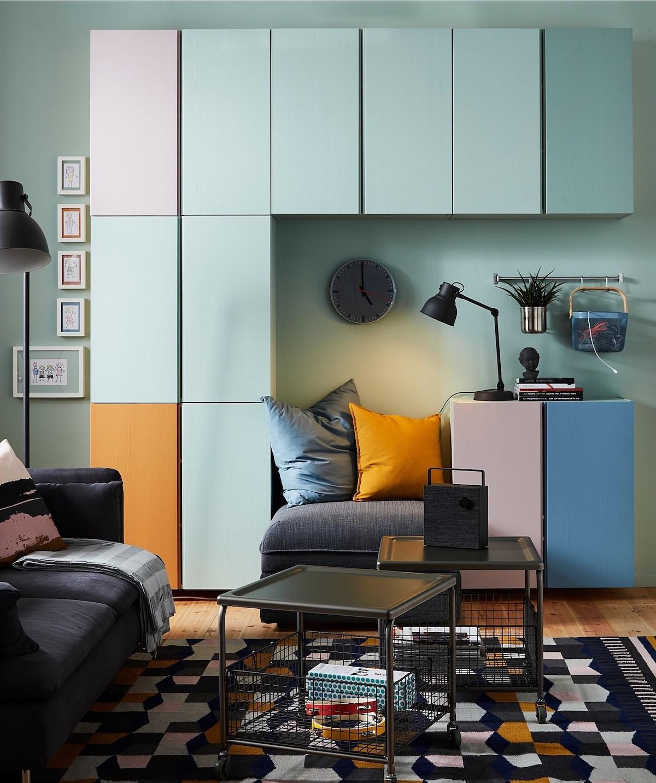 astuce diy meuble bois customisation bleu rose orange salon studio étudiant blog déco