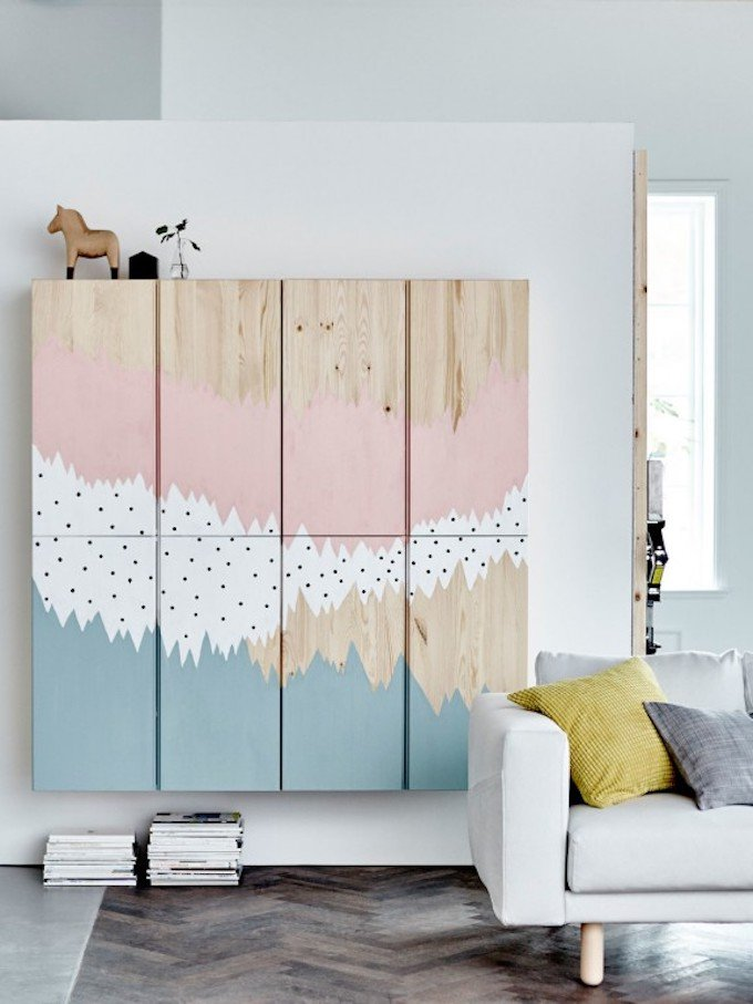 bricolage diy meuble bois pin ikea hack pastel déco originale salon clemaroundthecorner