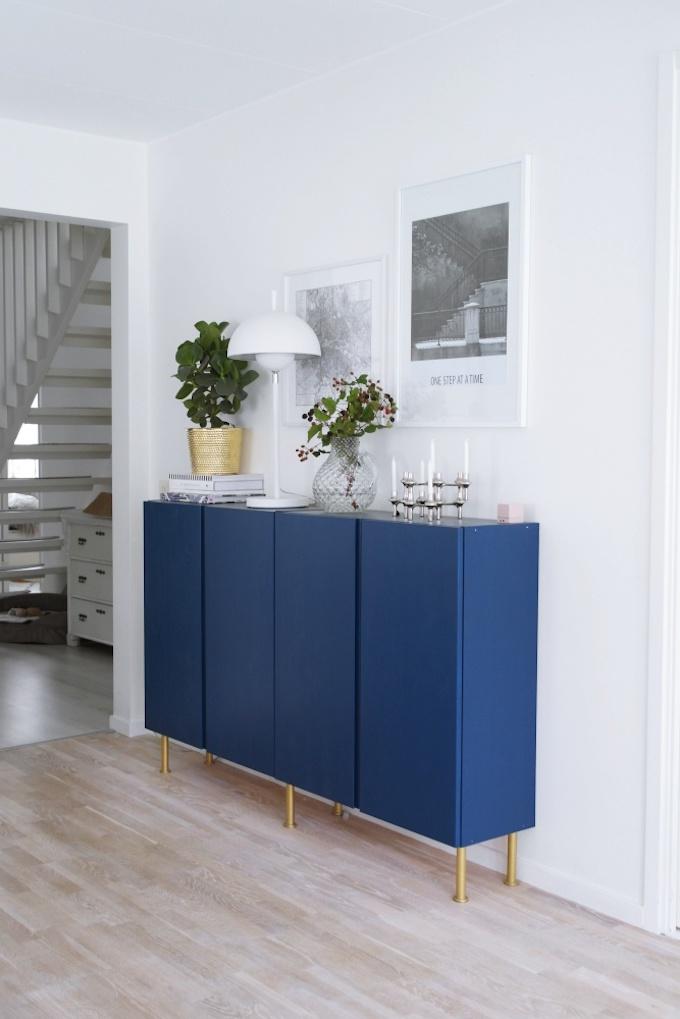 bricolage diy caisson ikea bois bleu laiton déco salon chic clemaroundthecorner