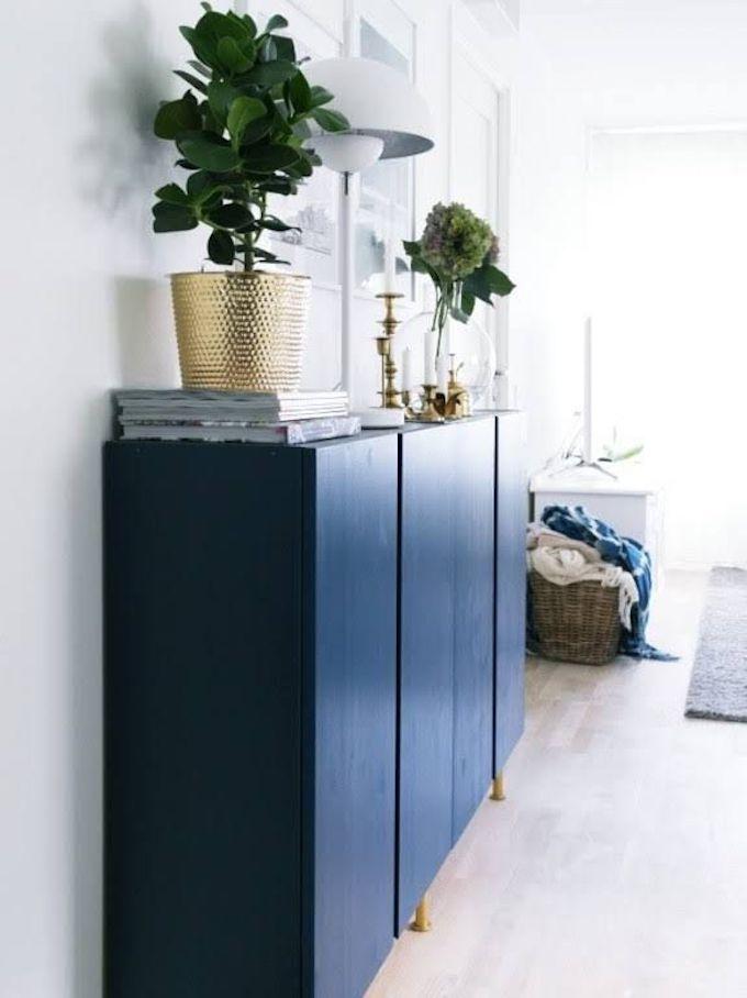 blog déco tuto bricolage commode bois bleu marine finition dorée déco salon élégant