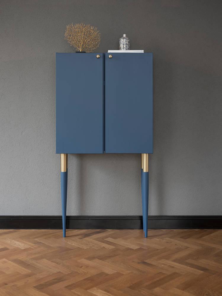 blog déco diy mobilier bois bleu pieds fin pointus laiton
