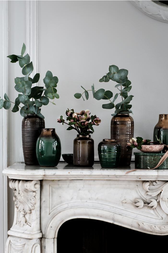clemaroundthecorner cheminée marbre blanc vintage vase verre souffle déco couleur vert sapin