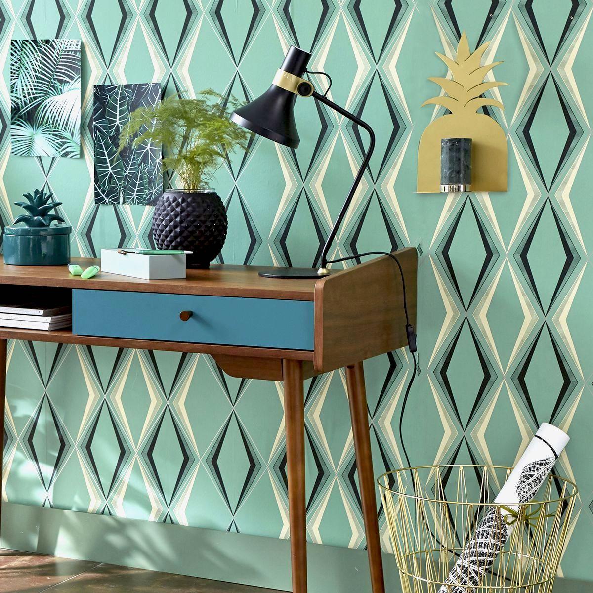 vintage brazil déco été bureau mur géométrique lumineux luxueux étagère ananas laiton blog déco