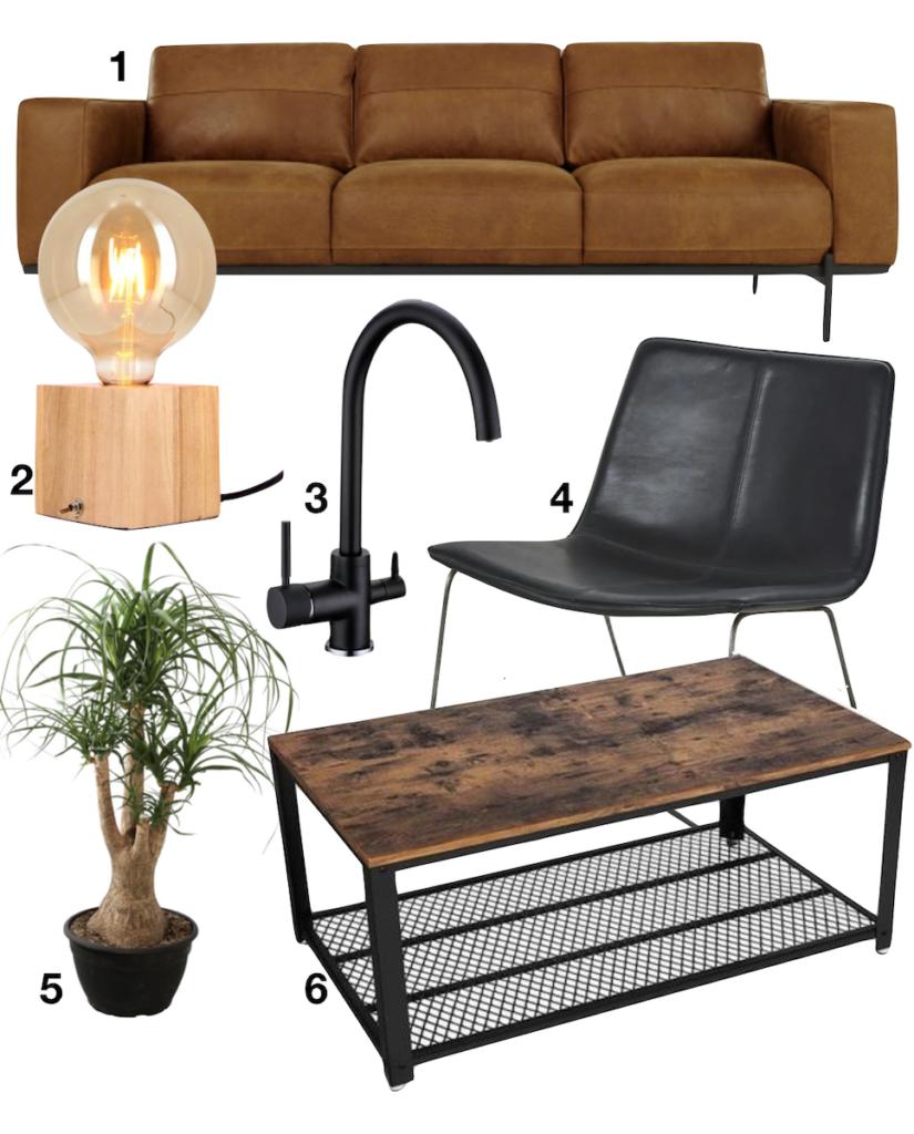shopping liste design canapé cuir fauteuil noir table basse vintage beaucarnea robinet lampe à poser - blog déco - clemaroundthecorner - décoration