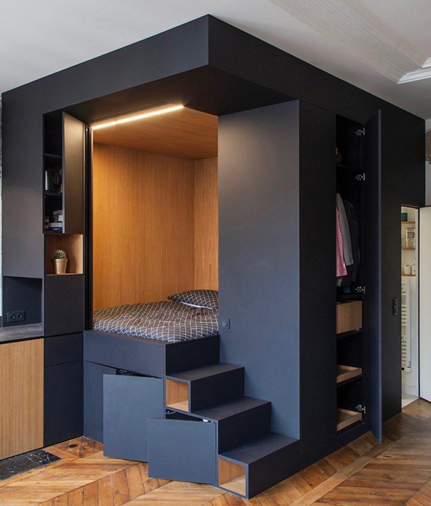 cube noire appartement design mix and match rangement chambre dressing multifonctions clematc