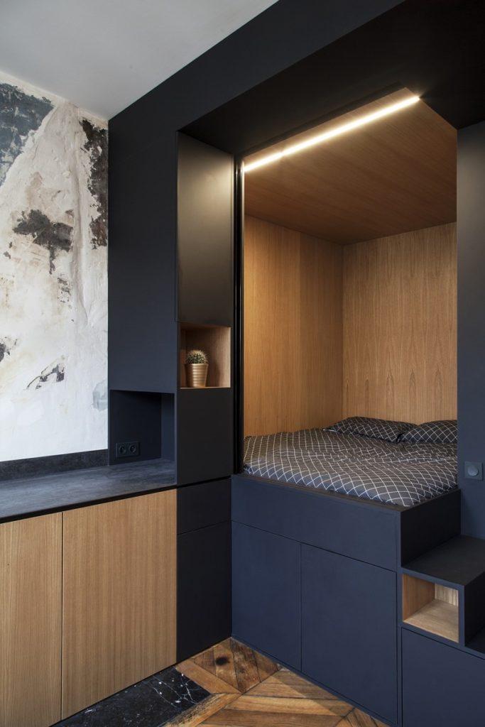 Boîte noire multifonctions design details bois chambre lit cuisine ouverte - blog déco - clemaroundthecorner
