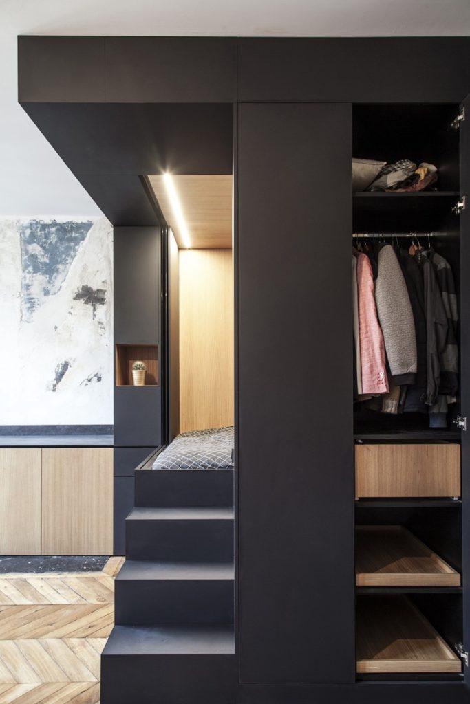 cube noir multifonctions dressing chambre lit studio aménagé - blog déco - clematc