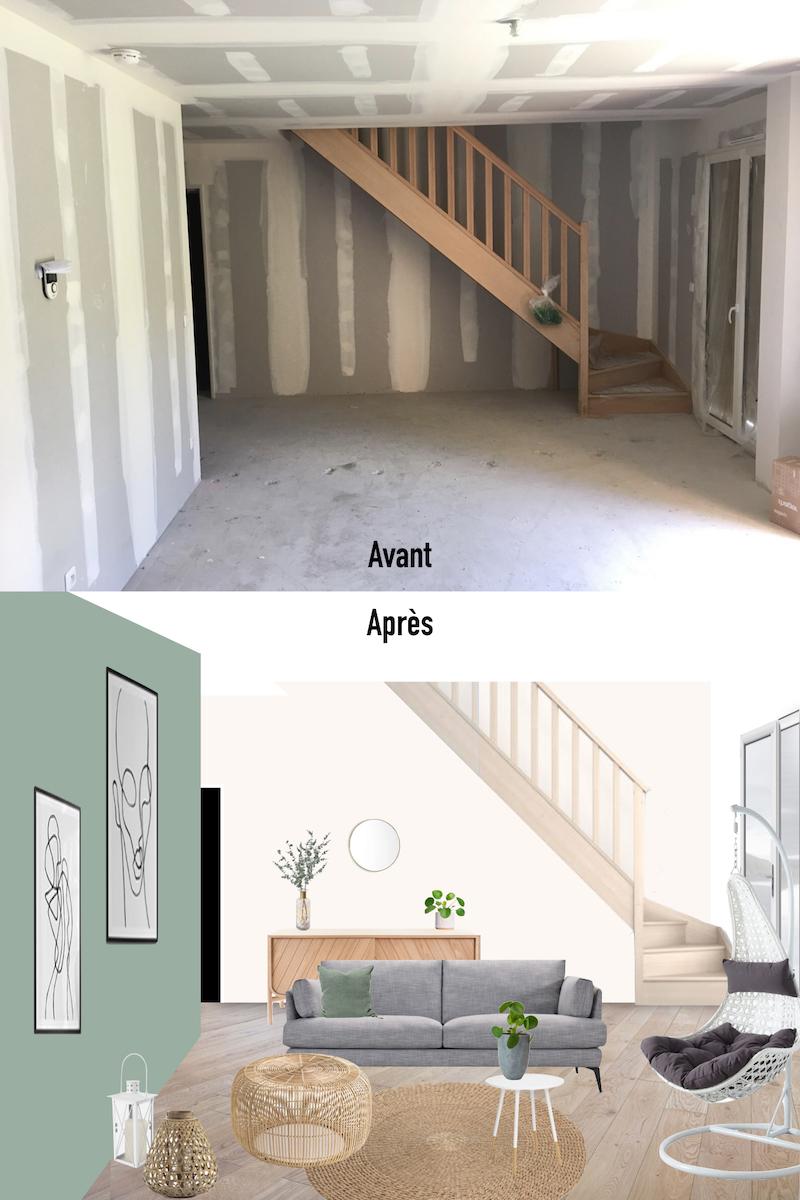 avant après planche maison pierre 3D salon design tendance - blog déco - clemaroundthecorner