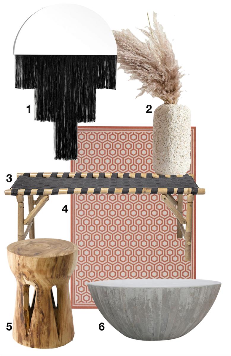shopping liste maison zen miroir herbe de la pampa table basse béton tapis tabouret - blog déco - clemaroundthecorner