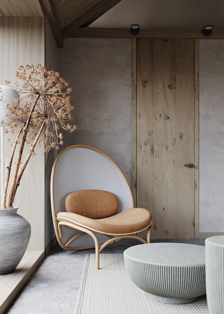 visite déco maison zen du silence pierre bois fauteuil fleurs séchées déco décoration intérieure