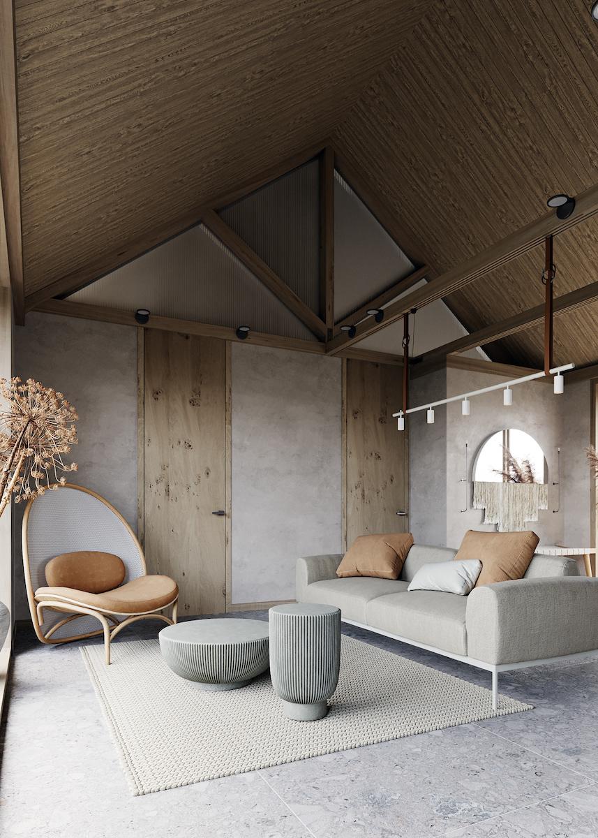 visite déco maison du silence zen salon canapé fauteuil poutres apparentes - blog déco - clematc