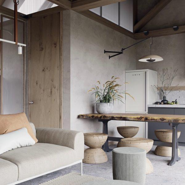 visite déco maison 62m2 zen bois pierre salon cuisine séjour ouvert - blog déco - clemaroundthecorner
