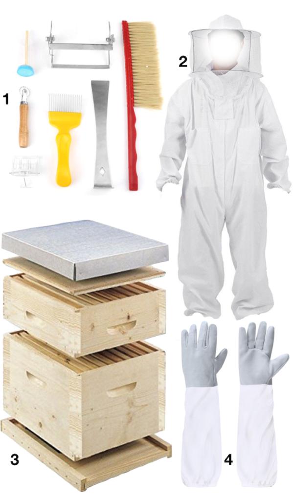 shopping liste pour apiculture apiculteur ruche gant blouse de protection outils