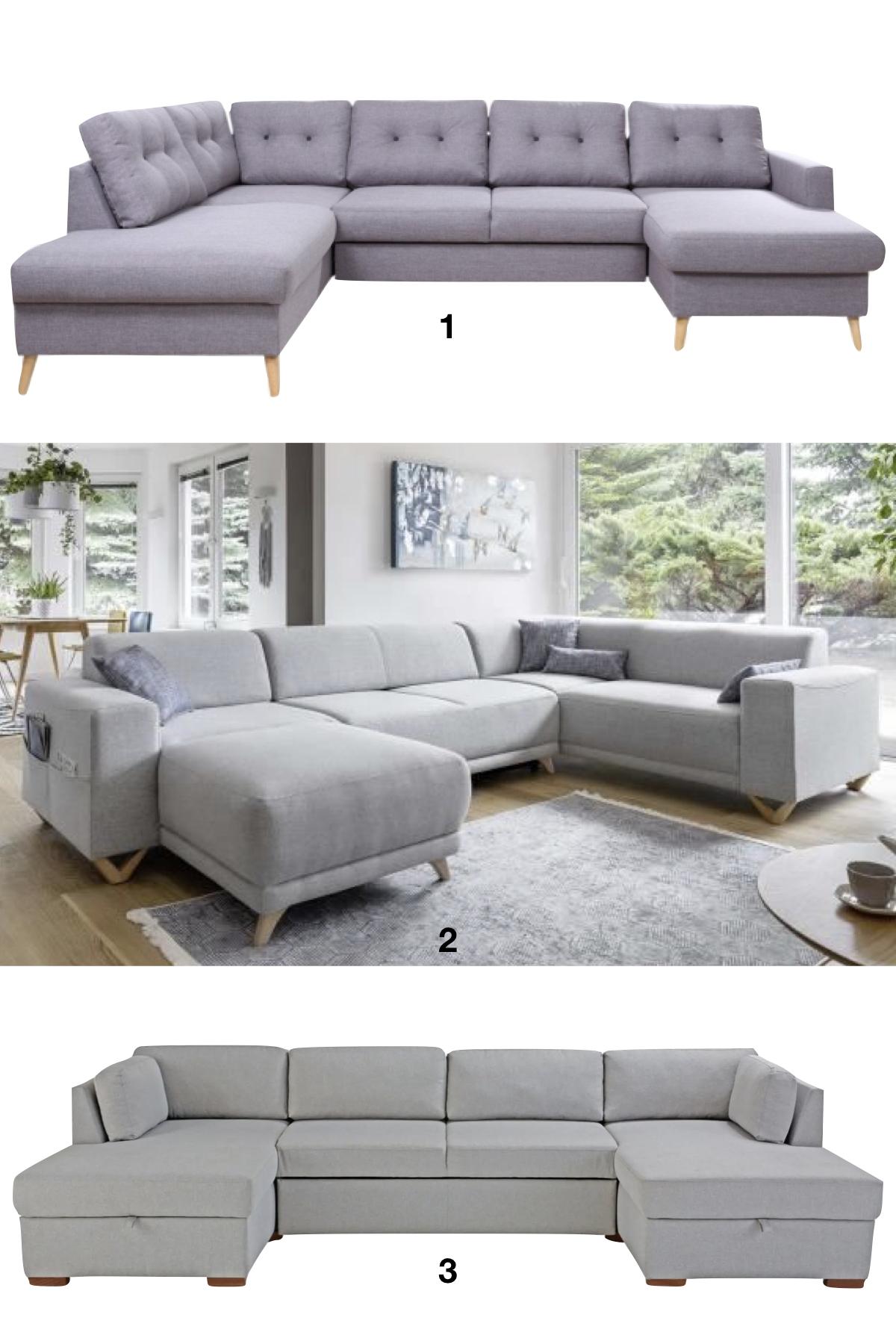 canapé panoramique style scandinave pieds bois revêtement gris déco tendance - blog déco - clemaroundthecorner