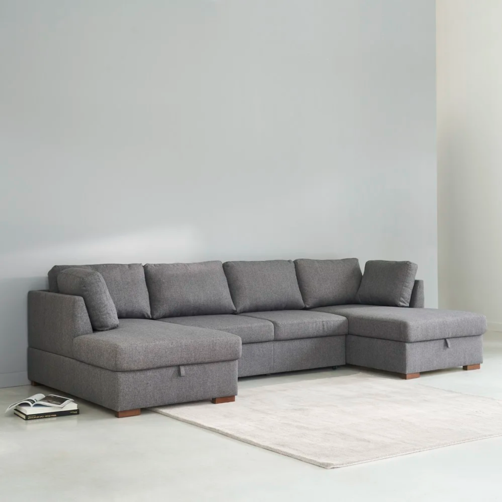 salon tendance sofa gris 7 places en U - blog déco - clematc