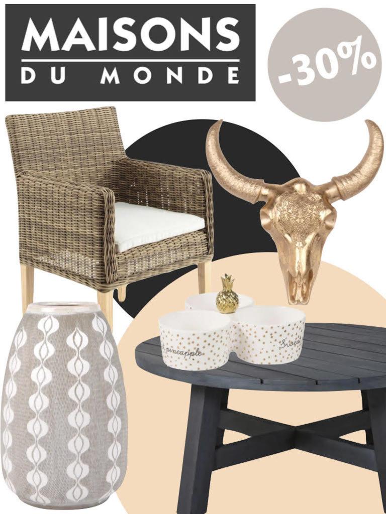 soldes maisons du monde chaise rotin table basse ronde bois noir vase statue clematc