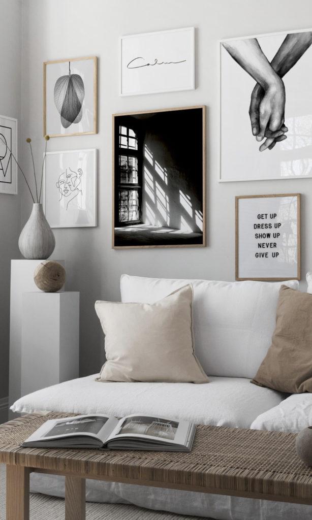 salon tendance canapé blanc vase déco murale cadres photographies poster - blog déco - clematc
