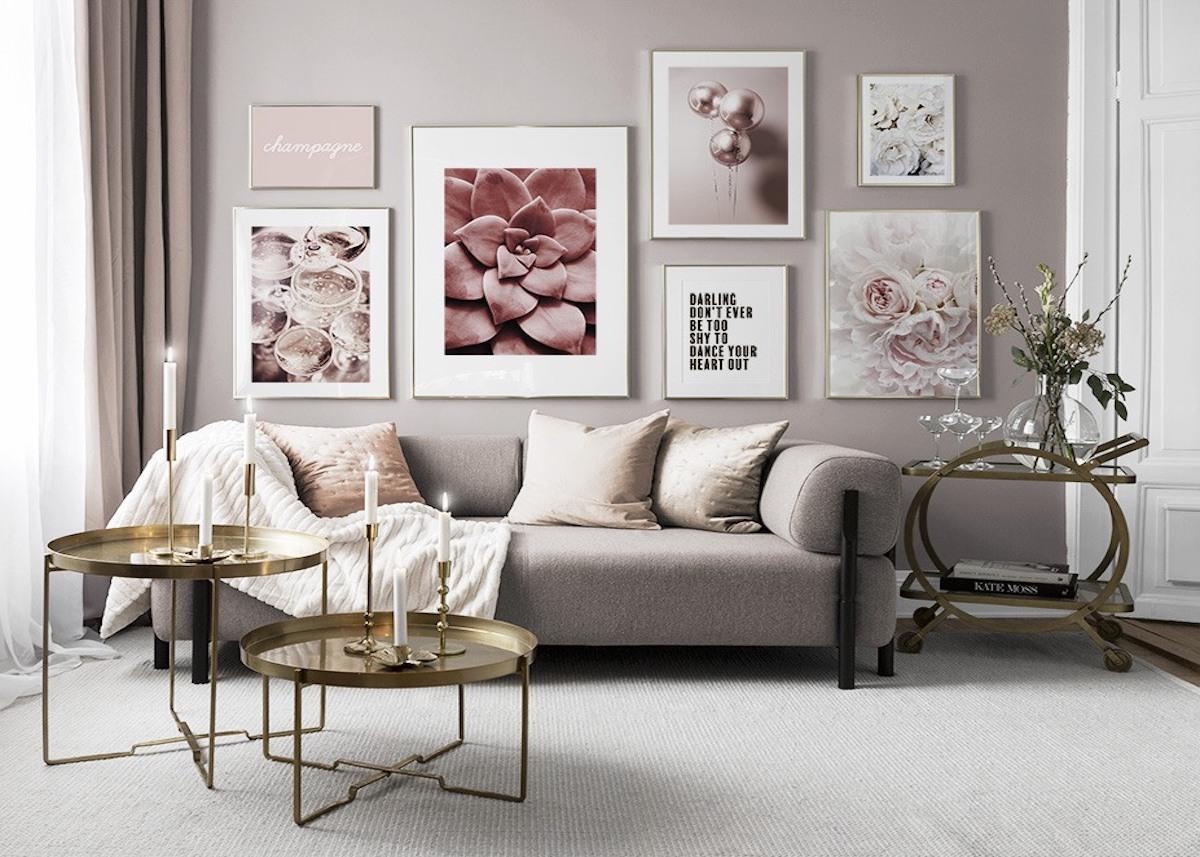 salon design mur de cadres décoration murale desenio - blog déco - clemaroundthecorner