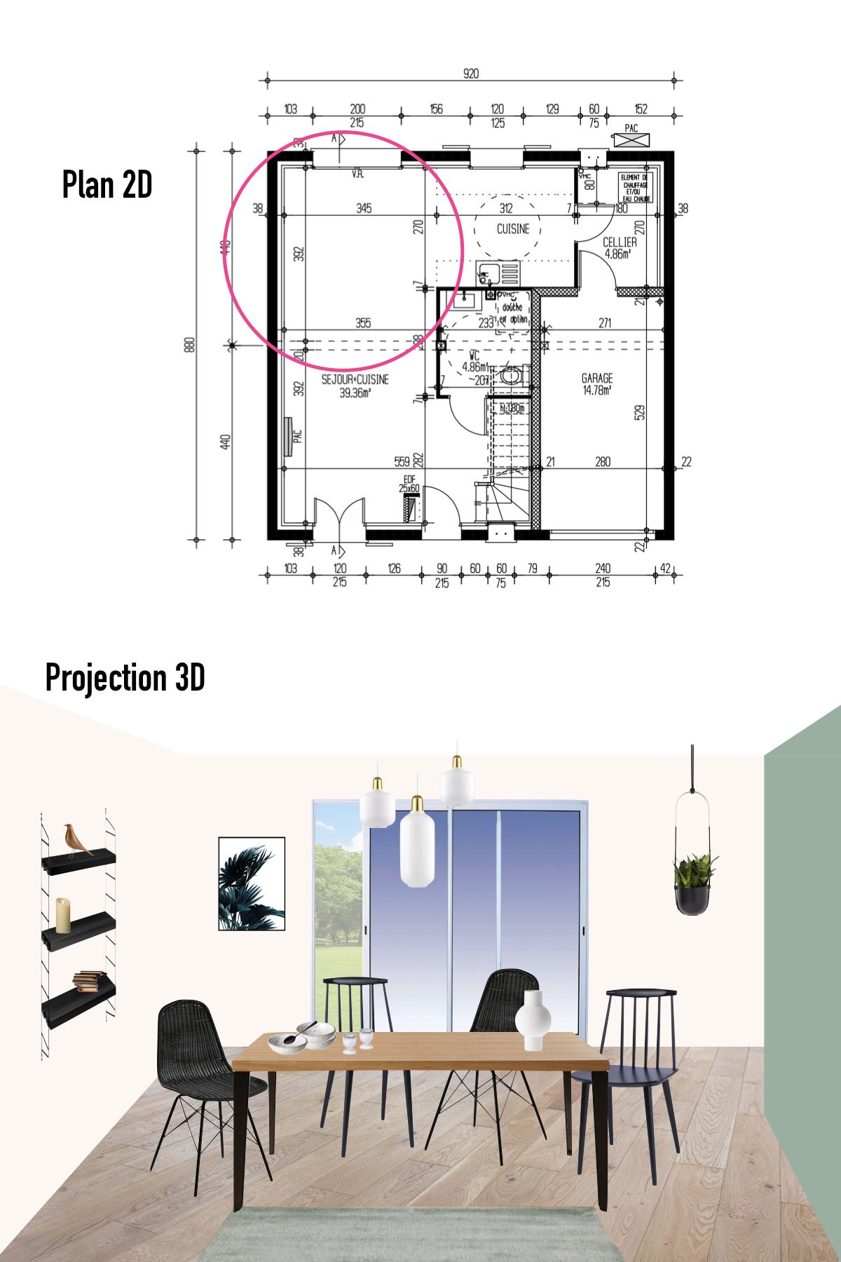 planche déco maison pierre plan 3D salle à manger décoration intérieure - blog déco - clemaroundthecorner