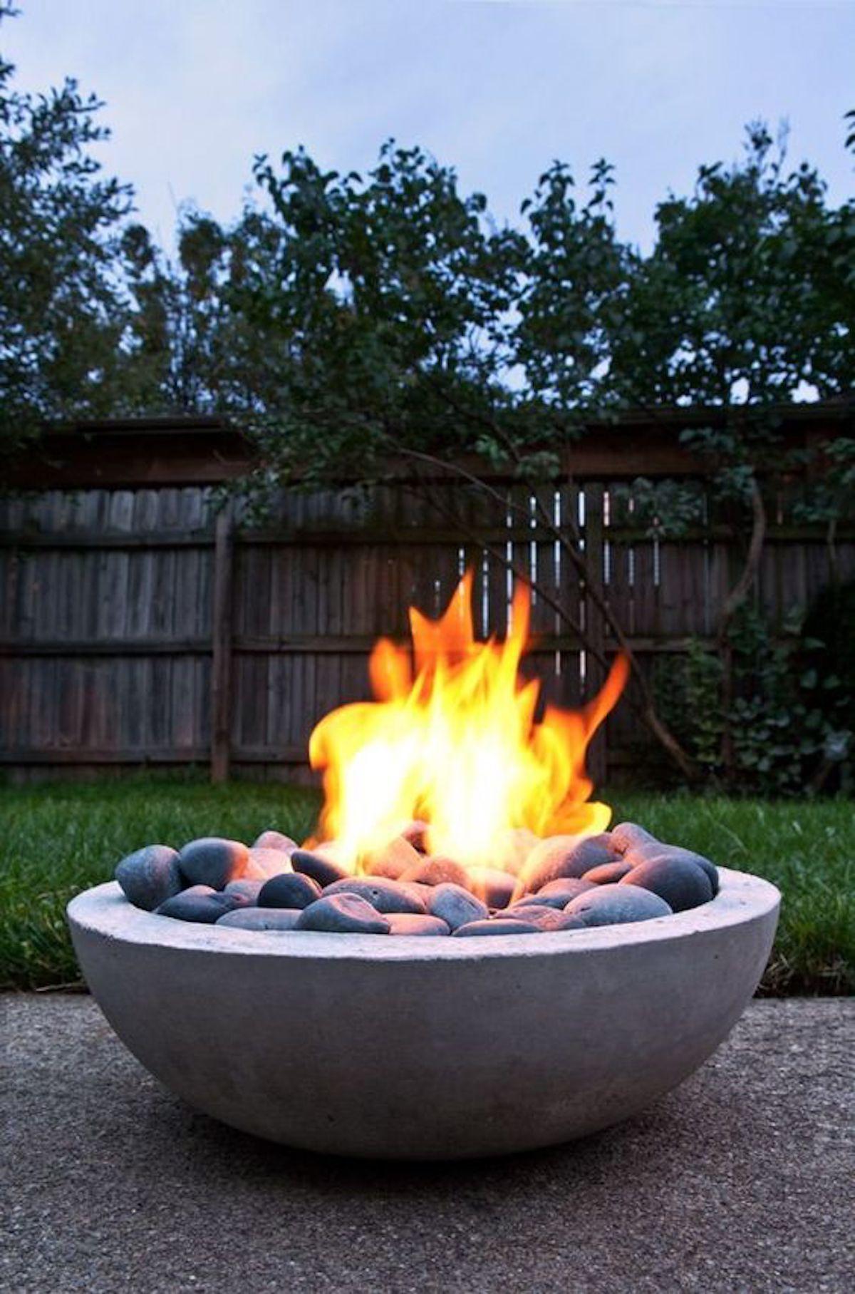 Brasero flamme feu pot béton jardin déco outdoor extérieur - blog déco - clematc