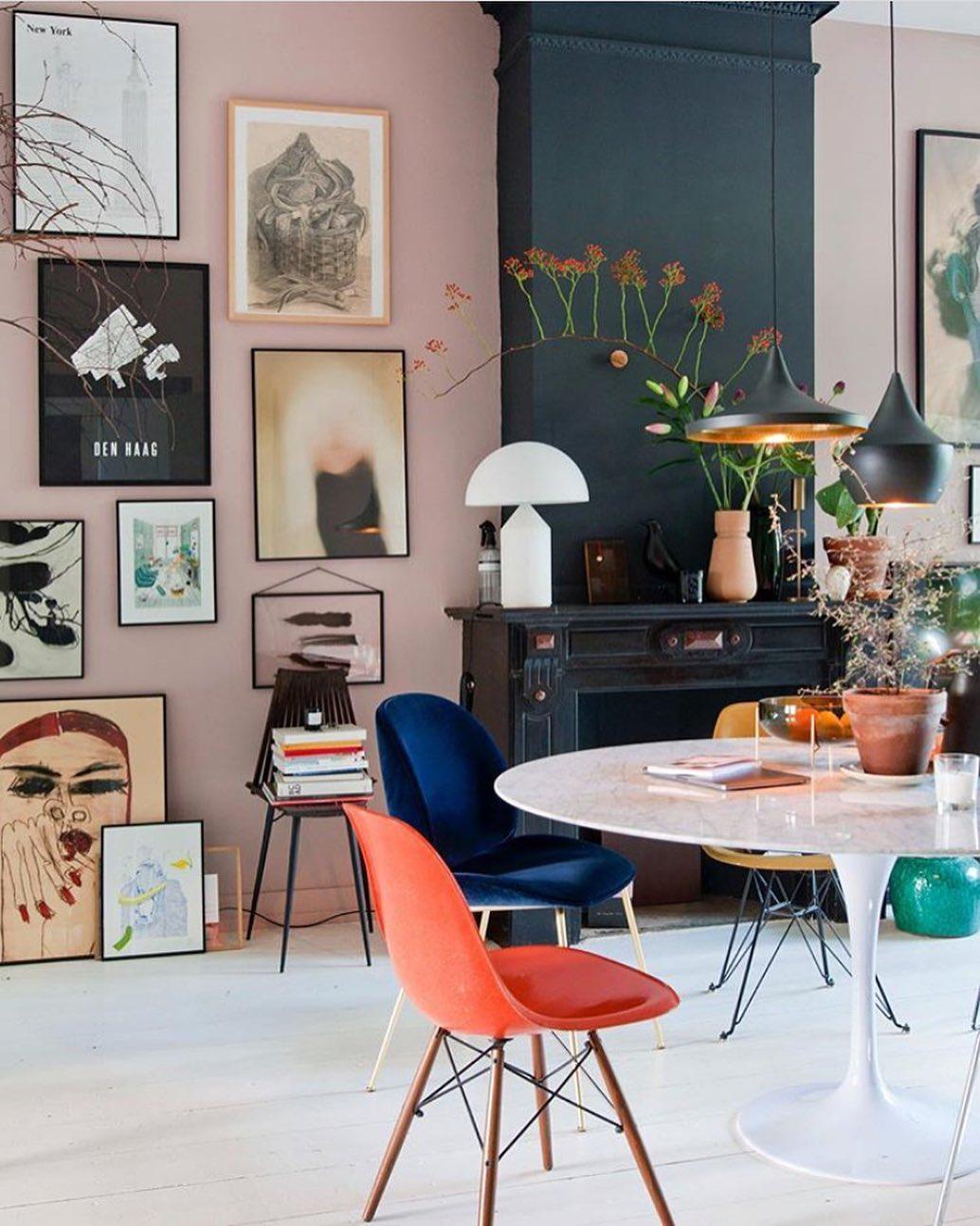 intérieur vintage décoration salle à manger table tulip marbre blanche ronde - blog déco - clemaroundthecorner