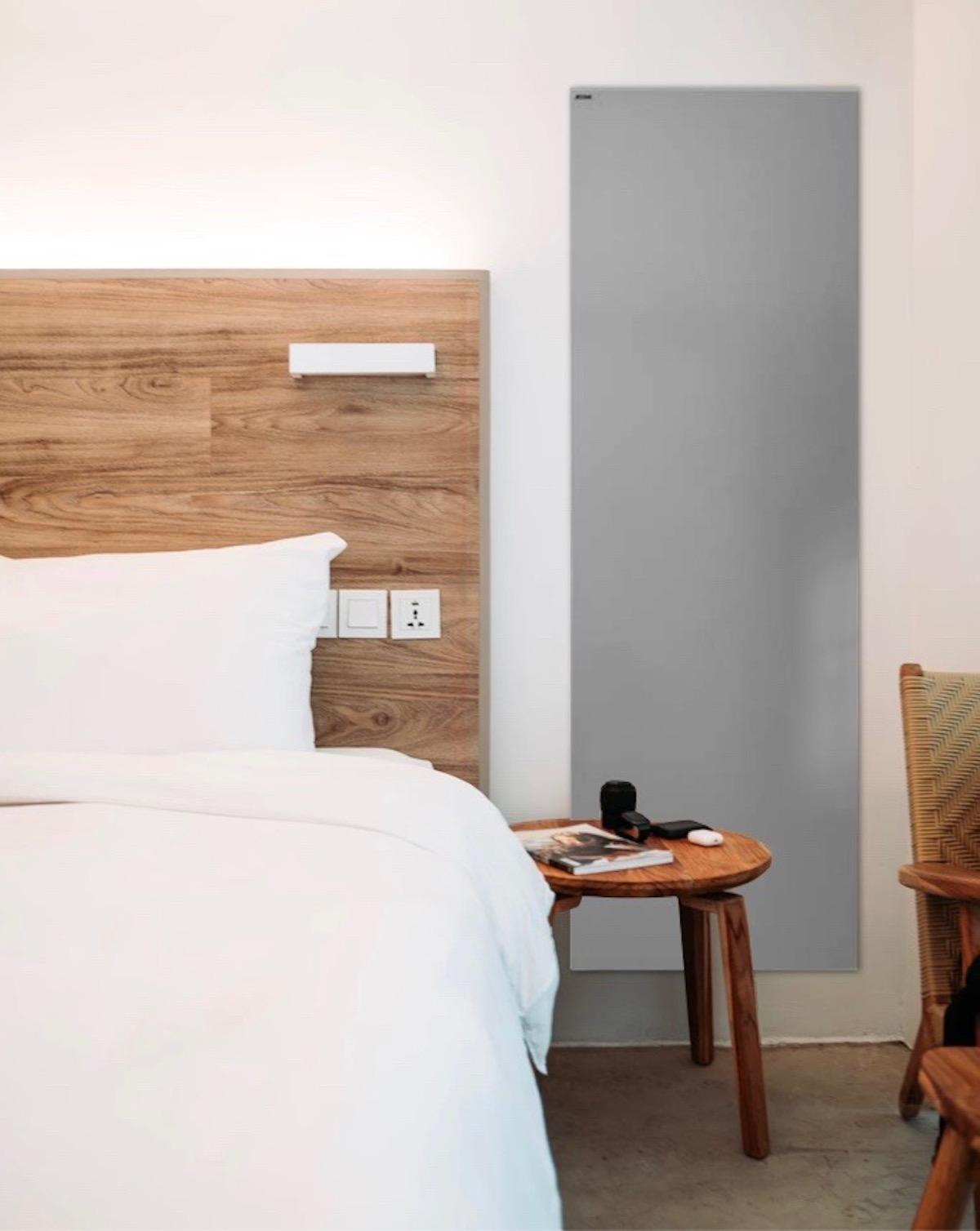 chambre tendance chauffage design électrique acova artemia gris tête de lit bois déco - clematc