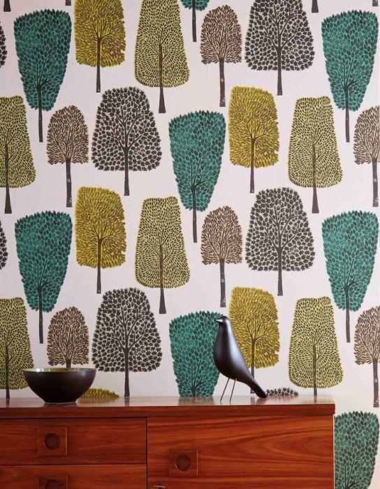 tapisserie style scandinave vintage motif arbre oiseau eames déco retro